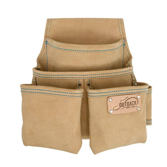 OX Trade 4-Pocket Fastener Pouch, Suede Leather - Timothy's Toolbox