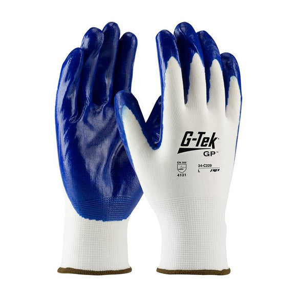 PIP 34-C229 G-TEK Flat Nylon Glove w/ Nitrile Coated Smooth Grip on Palm & Fingers - Timothy's Toolbox