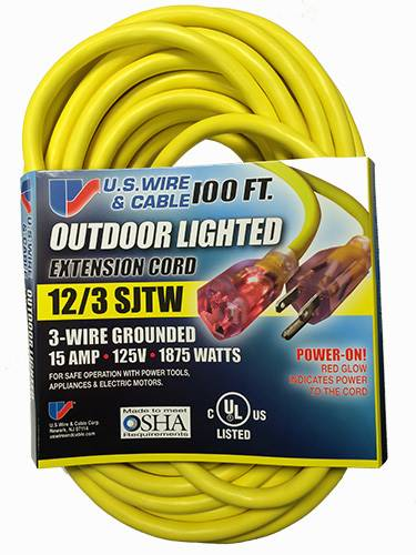 U.S. Wire 74100 Power-On Temp-Flex-35 Extension Cord - 100 ft - Timothy's Toolbox