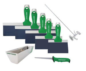 "USG Sheetrock Classic Blue Steel Premium Set (6,8,10,12,14"") knives, pan, mixer, saw - Timothy's Toolbox"