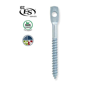 "Doc's Industries 3"" Eye Lag Screw for Wood Surfaces [100] – Zinc Finish - Timothy's Toolbox"