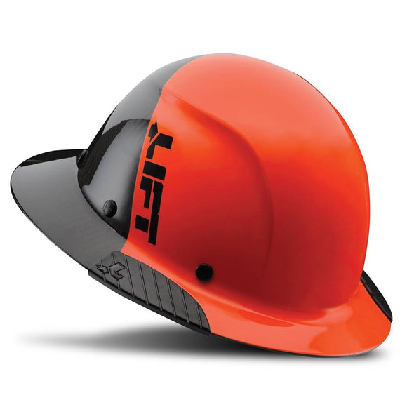 Lift Safety Dax 50/50 Carbon Fiber Full Brim Hard Hat Orange-Black HDF50C-19HC - Timothy's Toolbox