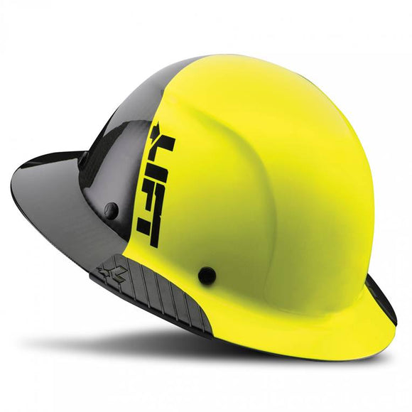 Lift Safety Dax 50/50 Carbon Fiber Full Brim Hard Hat Yellow-Black HDF-50C19HC - Timothy's Toolbox