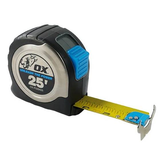 "Ox Tools 25 Foot Pro Stainless Steel 1-3/16"" Magnetic Tape Measure - Timothy's Toolbox"