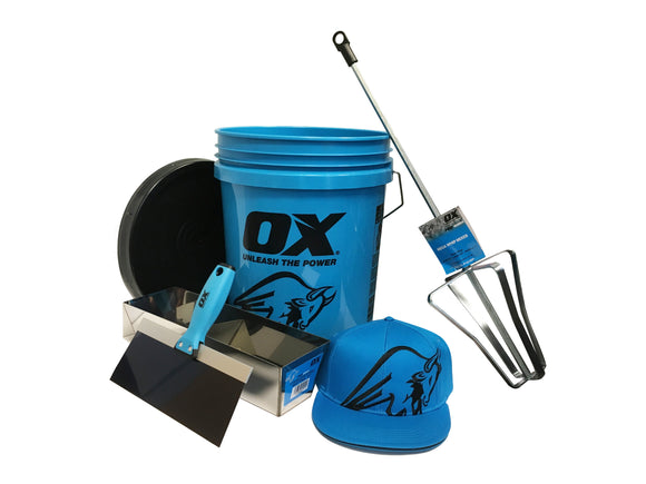 Ox Tools Pro Bucket Set: Mega Mixer, Ox Bucket, Ox Mud Pan, Ox Taping Knife, Ox Hat - Timothy's Toolbox