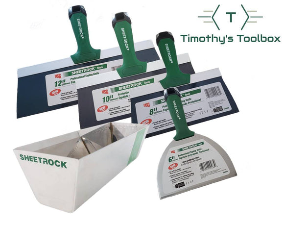 USG Sheetrock 6'', 8'',10'', 12'' Pro Drywall Taping Knives + 12