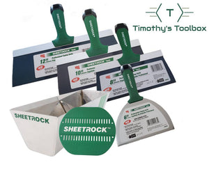 "USG Sheetrock Professional Drywall Taping Knives (6,8,10,12"") Set w/ 12"" USG Pan & Mud Pan Grip - Timothy's Toolbox"