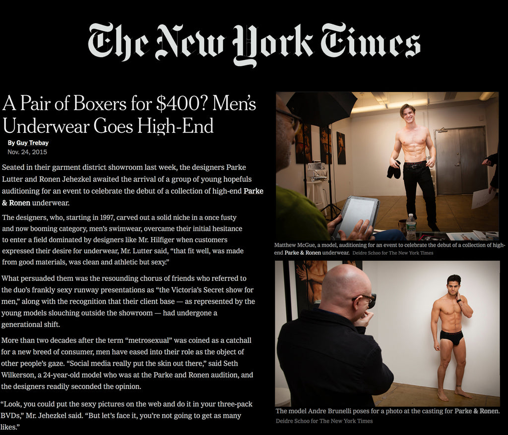 The New York Times Features Parke & Ronen As A Spotlight For High End Underwear