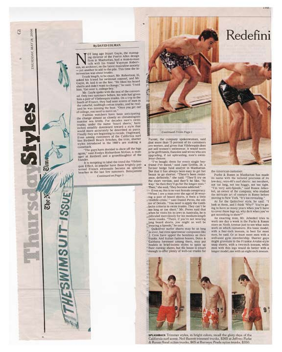 New York Times Thursday Style Section Features Parke & Ronen