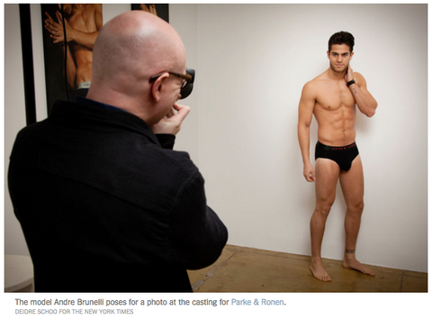 The model Andre Brunelli poses for a photo at the casting for Parke & Ronen. Credit Deidre Schoo for The New York Times