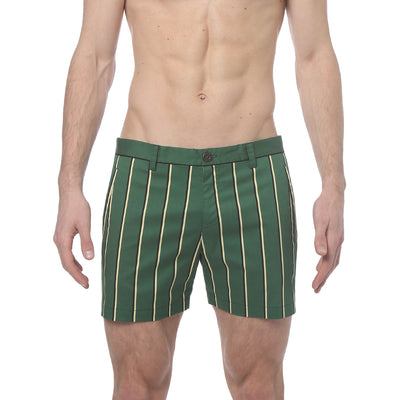 Green Stretch Preppy Stripe Holler Short - parke & ronen