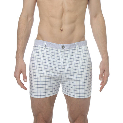Navy/Blue Holler Eastbourne Check Holler Short - parke & ronen
