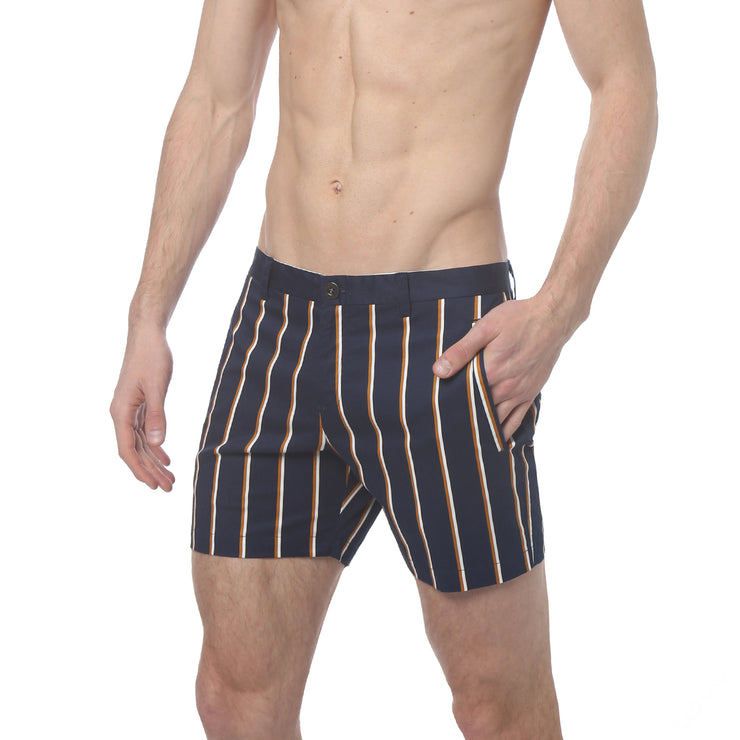 Navy Stretch Preppy Stripe Holler Short - parke & ronen