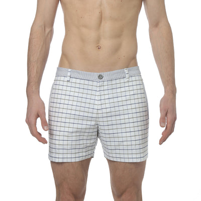Olive/Navy Holler Eastbourne Check Holler Short - parke & ronen