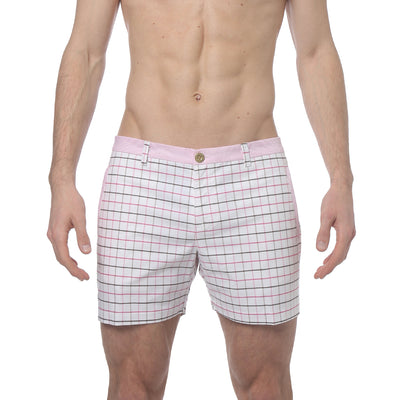 Pink/Brown Holler Eastbourne Check Holler Short - parke & ronen