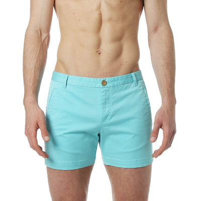 Aqua Solid Stretch Holler Short - parke & ronen