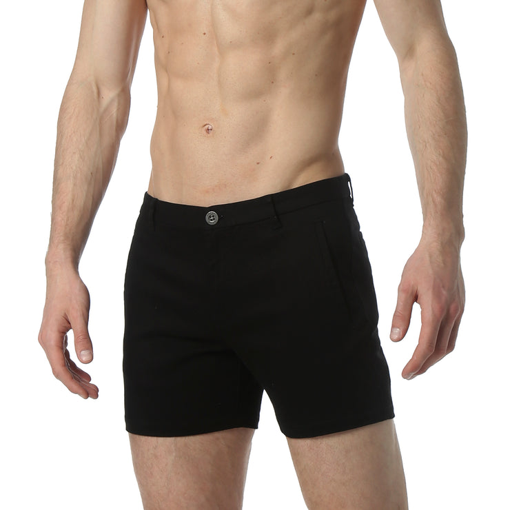 Black Solid Stretch Holler Shorts - parke & ronen