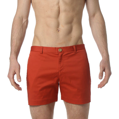 Burnt Orange Stretch Solid Holler Short - parke & ronen