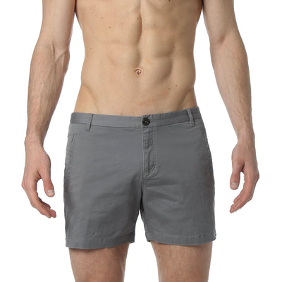 Dark Grey Solid Stretch Holler Shorts - parke & ronen