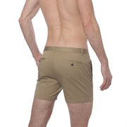 Dark Khaki Stretch Solid Holler Short - parke & ronen