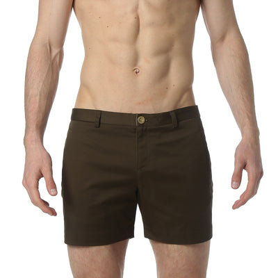 Dark Olive Solid Stretch Holler Shorts - parke & ronen