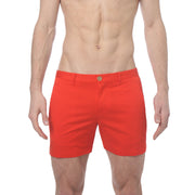 Flame Red Stretch Solid Holler Short - parke & ronen