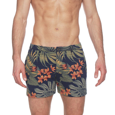 Quilted Knit Tropical Print Holler Short - parke & ronen