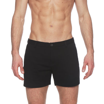 Black Terry Solid Knit Holler Short - parke & ronen