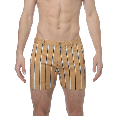 Tan Stretch Preppy Stripe Holler Short - parke & ronen