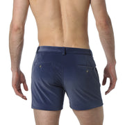 Blue Stretch Velvet Holler Short - parke & ronen