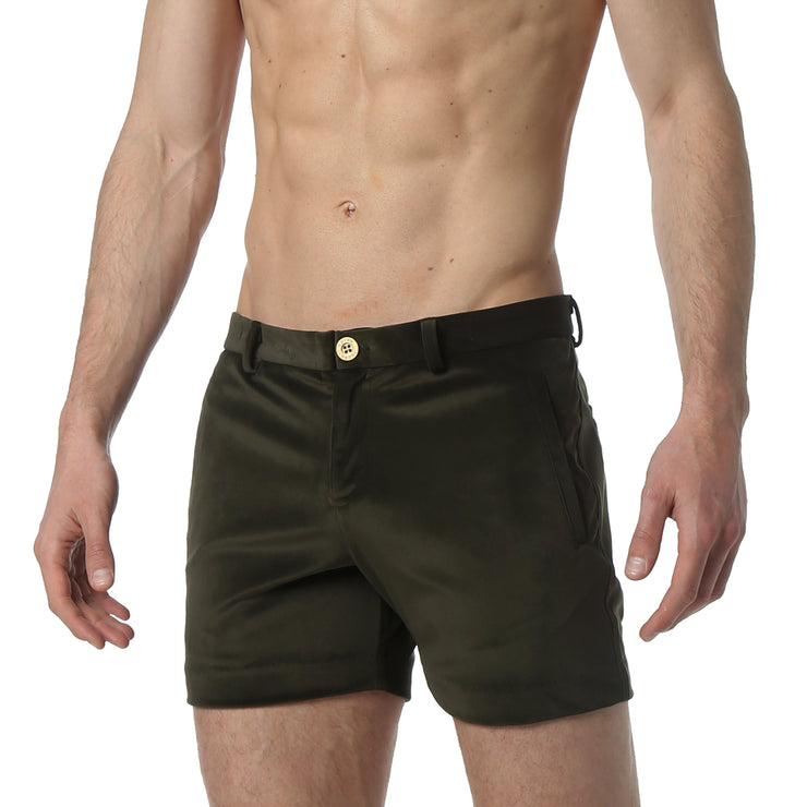 Green Stretch Velvet Holler Short - parke & ronen