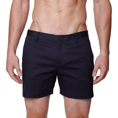 Navy Solid Stretch Holler Shorts - parke & ronen