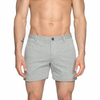 Heather Grey French Terry Solid Knit Holler Short - parke & ronen