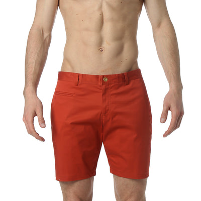 Burnt Orange Stretch Solid Madrid Short - parke & ronen
