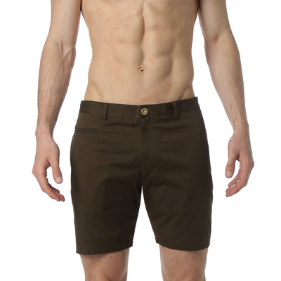 Dark Olive Solid Stretch Madrid Shorts - parke & ronen