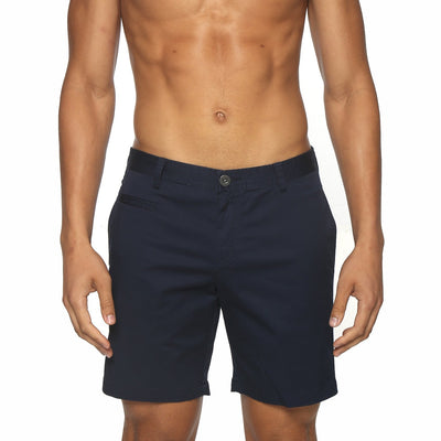 Navy Solid Stretch Madrid Shorts - parke & ronen