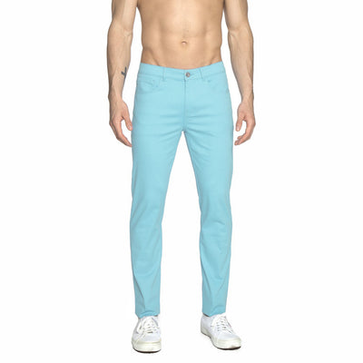 Aqua Solid Stretch Apollo Jeans - parke & ronen