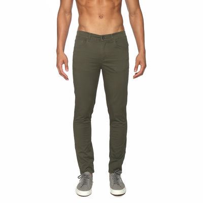 Dark Olive Solid Stretch Apollo Jeans - parke & ronen