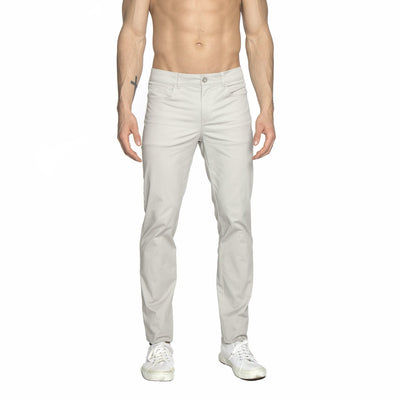 Dove Grey Solid Stretch Apollo Jeans - parke & ronen