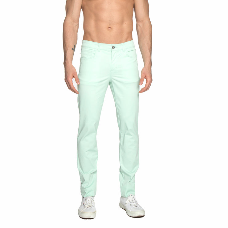 Mint Green Solid Stretch Apollo Jeans - parke & ronen