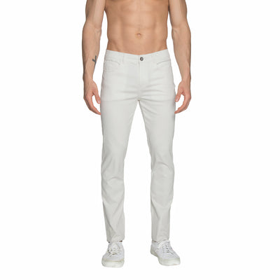 Off-White Solid Stretch Apollo Jeans - parke & ronen