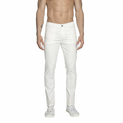 White Solid Stretch Apollo Jeans - parke & ronen