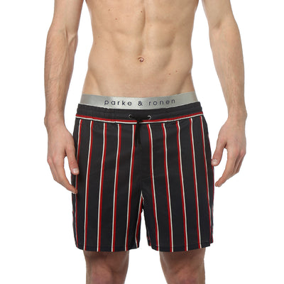 Black Country Club Stripe Cotton Matador Short - parke & ronen