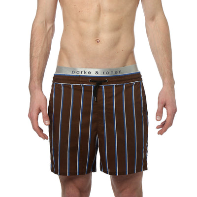 Brown Country Club Stripe Cotton Matador Short - parke & ronen