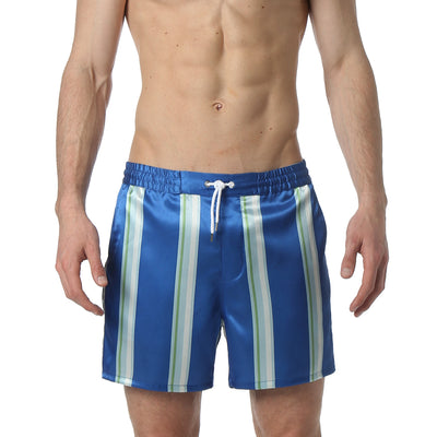 Blue Awning Stripe Matador Satin Short - parke & ronen