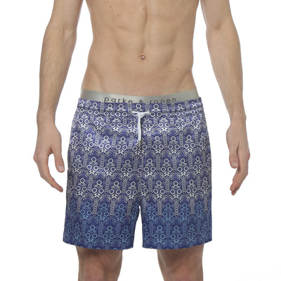 Sunflower Blue Printed Satin Matador Short - parke & ronen
