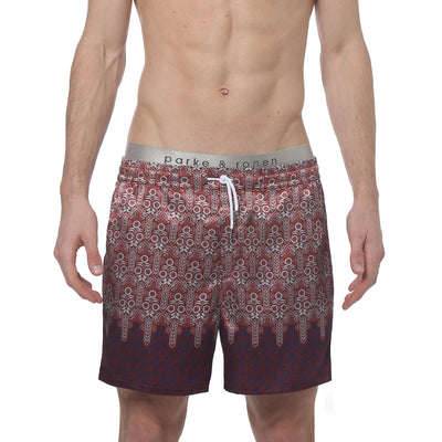 Sunflower Crimson Printed Satin Matador Short - parke & ronen