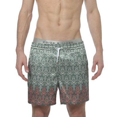 Sunflower Olive Printed Satin Matador Short - parke & ronen