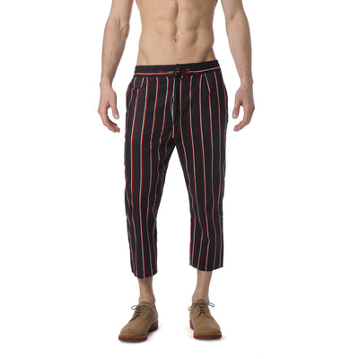 Black Country Club Stripe Drawstring Trouser - parke & ronen