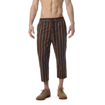 Brown Country Club Stripe Drawstring Trouser - parke & ronen